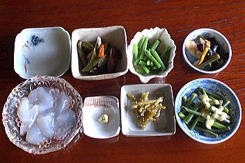 やま仙 山菜そば(前菜)