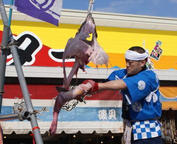 糸魚川荒波あんこう祭り あんこう吊るし切り実演 柳肉