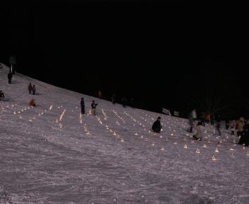 野沢温泉スキー場 冬の灯明夜まつり 灯明