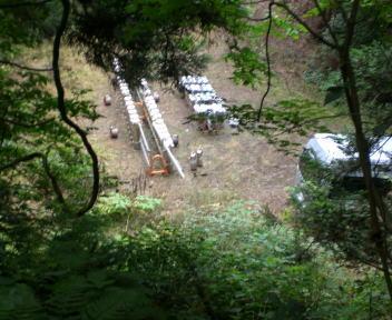 角田山提灯登山 打ち上げ場所