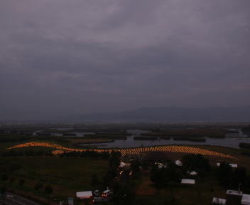 福島潟自然文化祭 雁迎灯点灯