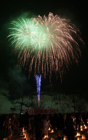 とちお遊雪まつり前夜祭 花火打ち上げ スターマイン
