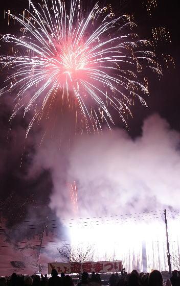 とちお遊雪まつり前夜祭 花火打ち上げ