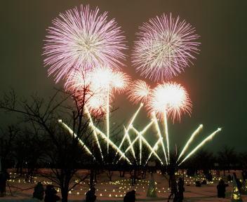 2010長岡雪しか祭り 雪花火 ワイドスターマイン