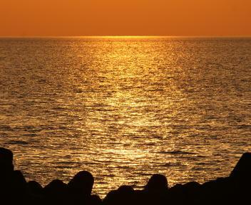 瀬波温泉海岸 夕日