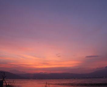 諏訪湖祭湖上花火大会 夕日