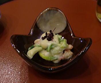 いしみ 行者ニンニクの芽とホッキ貝の酢味噌和え