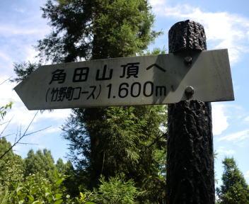 角田山 五りん石コース 林道登山口 道標
