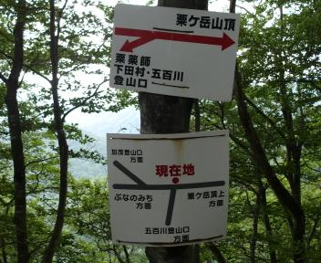 粟ヶ岳 下田小俣登山道 分岐 案内板
