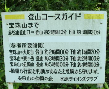 宝珠山 赤松山コース 案内板