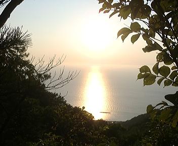 角田山 五ヶ峠コース 夕日
