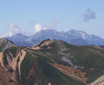 常念岳 山頂 剱岳・立山