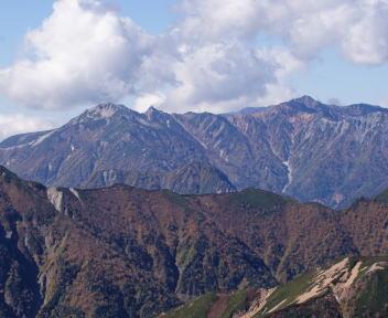 常念岳 山頂 鷲羽岳・水晶岳