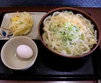 こびきや出来島店 かけうどん(大)+野菜かき揚げ+生玉子