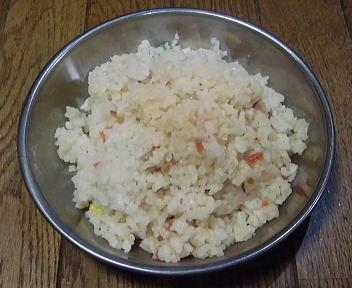 登山食試食 サタケ炒飯 調理例