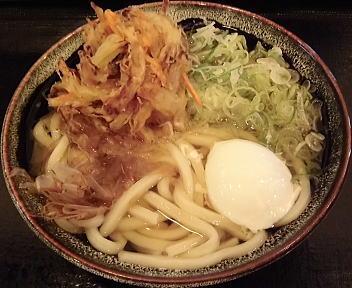 こびきや河渡店 かけうどん(中盛)+野菜かき揚げ+温玉