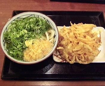 丸亀製麺新潟河渡店 かけうどん大+野菜かき揚げ