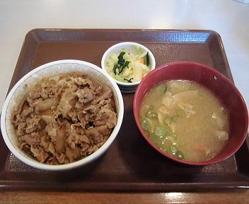 すき家新潟東店 牛丼とん汁おしんこセット