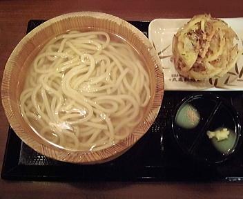 丸亀製麺新潟河渡店 釜揚げうどん大+野菜かき揚げ