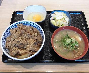 吉野家新潟海老ヶ瀬IC店 牛丼・とん汁・お新香セット+玉子