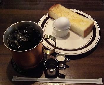 星乃珈琲店新潟女池店 アイスコーヒー+厚切りトーストとゆで卵
