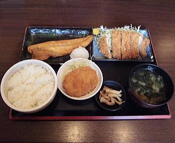 お肴や おすすめ定食(サバ味噌漬け焼き・ロースカツ)