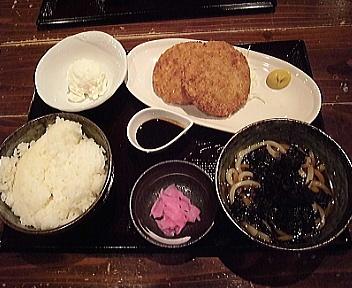 ボンド駅南店 ハムカツ定食+うどんセット