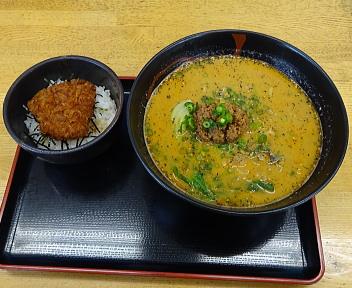 大積パーキングエリア(上り線) あかごま担担麺とミニタレカツ丼のセット