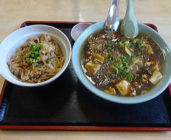 寿楽 ランチセット(マーボー麺+ミニ焼肉丼)