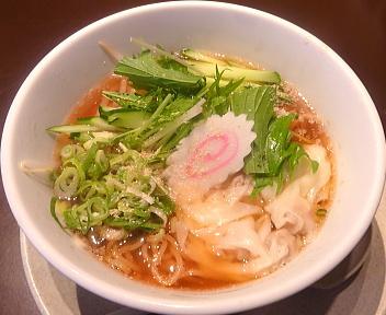 無尽蔵花園家 冷たいスープのワンタン麺