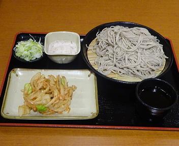 小木曽製粉所松崎店 ざるそば(大)+山形村産とろろ+野菜のかき揚げ