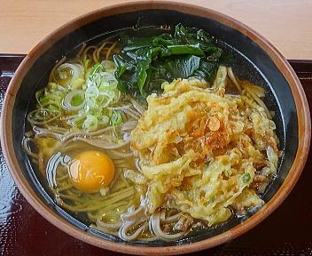 さぢみ かき揚げそば+麺大盛+生玉子